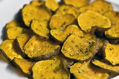 """Baking times for all fruits and veggies you can imagine making into yummy alternative to fried commercial chips! Dehydrating would keep them """"raw"""" but would take like 12-24 hours for some of these, so when you are munchy-headed and want some goodness in less than 1/2 hour, baking is a great option!"""