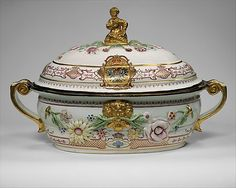 """1735 Austrian Tureen """"This tureen belongs to one of the most splendid services produced at the Du Paquier manufactory. It was owned by Czarina Anna Ivanovna (r. 1730–40), who may have received it as a diplomatic gift from Emperor Charles VI (r. 1711–40)."""""""