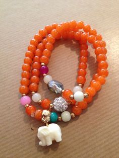 Adorable Mandarin Tangerine Orange Glass Bead Pave Crystal Elephant Charm Wrap Bracelet