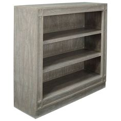 Ashmolean shelves in low design. Handmade from mango wood with three fixed shelves for storage space. Shelf Furniture, Wooden Bookcase, Grey Furniture, Bookcase, Storage Spaces, Shelves, Bookshelves In Living Room, Bookshelves, Silver Birch