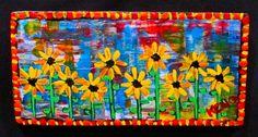 ~SUN FLOWERs~wood painting Maine Abstract FOLK ART outsider~COASTWALKER   eBay