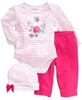 First Impressions Baby Set, Baby Girls Flower 3-Piece Hat, Bodysuit and Pants