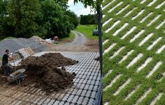 Green Your Driveway with Permeable Concrete Pavers. Belgian designers specially created Zangra Grass Pavers to leave room for grass to grow up around them. via Gardenista
