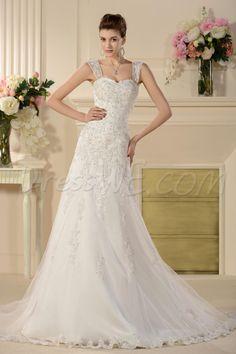 $164.99 Dresswe.comサプライ品幻想的なチャペルAラインウエディングドレス リムーバブル ストラップ アップリケ
