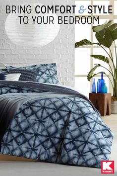Make a big impact with unique bedding details from Kmart. Make your bedroom a super stylish space at your pad by adding this 5-Pc. Indigo Pigment Comforter Set by Attention. The comforter and shams are made from soft cotton to ensure you spend the night in optimum comfort, while two decorative pillows add to the ultra-chic ambiance. An awesome eye-catching geometric print brings a contemporary look into the room. Transform your bedroom with the help of Kmart's selection of bedding today.