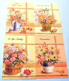 Orange Floral Bouquet Stationery Cards Set of by CandyAppleCrafts