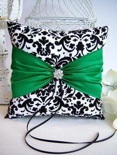 Black and White Damask With Emerald Green Ring Bearer Pillow, March Weddings, St. Patrick's Day Weddings Sewing Pillows, Diy Pillows, Decorative Pillows, Cushions, Throw Pillows, Black Wedding Rings, Black Rings, Gold Rings, March Wedding Colors