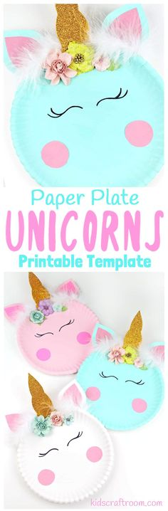 Have your kids been hit with the unicorn frenzy? We just love them! Bring some magic to your craft sessions with this super simple Paper Plate Unicorn Craft. These unicorns look so pretty your big kids will love them but they're simple enough for your preschoolers and toddlers to enjoy too. We've even got a free printable template to make it even easier! #unicorncrafts #paperplatecrafts #kidscrafts #kidscraftroom #printable #crafts