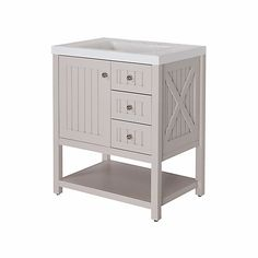 Martha Stewart Living Seal Harbor 30-inch W Vanity in Sharkey Grey Finish  with Top