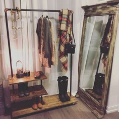 #DIY Clothing Rack #Urbanoutfitters inspiration. #Condoliving #Toronto #smallspaces #dressingroom #mirror #giantmirror #uttermost #hunters #Anthropologie