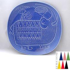 Blue-PIAZZA-Plate-Stig-Lindberg-Gustavsberg-SWEDEN-1950s