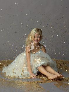 Gold Sequin Strap Sleeveless Tea Length Ball Gown Flower Girl Dress with Ivory Tulle Overlay Skirt