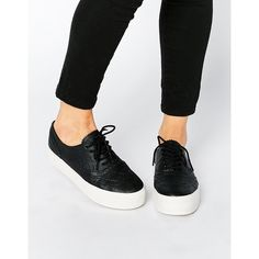 London Rebel Sporty Flatform Sneakers ($48) ❤ liked on Polyvore featuring shoes, sneakers, black, vegan shoes, flatform shoes, lace up sneakers, black flatforms and round toe sneakers