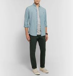 Club Monaco Williams Cotton-jersey T-shirt In Gray Denim Button Up, Button Up Shirts, S Williams, Steve Mcqueen, Club Monaco, Polo Ralph Lauren, Trousers, Gray, Cotton