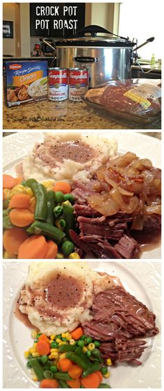 Crockpot Pot Roast - Super easy to throw together, full of flavor, perfect for a busy day. Crockpot Dishes, Crock Pot Slow Cooker, Crock Pot Cooking, Slow Cooker Recipes, Crock Pot Roast, Pork Roast, Deer Roast Crockpot, Easy Pot Roast, Slow Cooker Meatloaf