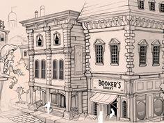Illustrated Old American City Scene
