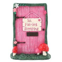 £7.30 Pink Shh Fairies Sleeping Fairy Door - Keep the kids quiet with this fairies sleeping fairy door or maybe they will make more noise to wake them up. Do fairies wake up grumpy and shower them in itchy fairy dust or are they morning sprites? Either way the kids love fairy doors, sparking their wonder and imagination.