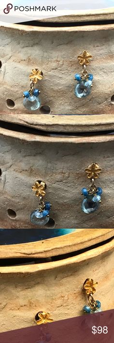 Matana handmade earring with gold flower and gems Dainty earrings with 24 karat gold over silver posts . Little cluster with gems including green amethyst/ Prasiolite , blue Swiss topaz. Super cute earrings and these will also make a great gift. Matana Jewelry Earrings