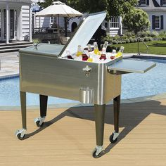 Features:  -A fun and functional patio cooler.  -Unfinished stainless steel body supported by black steel legs.  -Stainless steel cosntruction means it's low maintenance, easy to clean.  -Durable powd