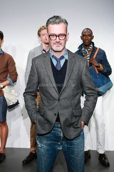 Fashion designer Frank Muytjens, poses with model wearing J. Crew