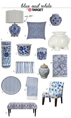 Blue and White Finds At Target (accessories home decor jars bench lamp pillow) accessories Home Decor Accessories, Decorative Accessories, Decorative Accents, Blue And White Living Room, Target Home Decor, Blue And White China, Blue And White Lamp, Blue Lamps, Blue And White Pillows
