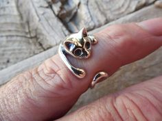 Adjustable cat ring in sterling silver by billyrebs. Explore more products on http://billyrebs.etsy.com