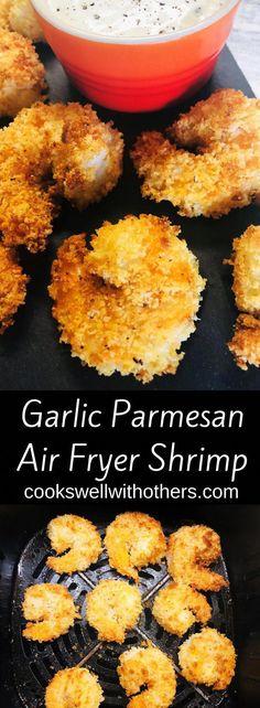 Garlic Parmesan Air Fryer Shrimp Cooks Well With Others - Abendessen ideen Parmesan Chips, Garlic Parmesan Shrimp, Zucchini Parmesan, Zucchini Fries, Zucchini Sticks, Breaded Shrimp, Baked Garlic, Grilled Shrimp, Air Fryer Recipes Breakfast