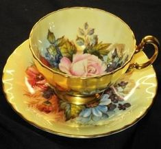 AYNSLEY ENGLAND GOLD SIGNED ROYAL BOUQUET BOWL TEA CUP AND SAUCER 295.00 by tracie