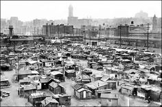 Hooverville in Seattle, 1937:  Shantytowns sprang up around the country during the Great Depression. Seattle's Shacktown began to grow along the waterfront in 1931. The Seattle Port Commission eventually evacuated the residents, and by 1941 the shanties were burned to make room for a war-related shipping facility.  							Photo: Seattle Post-Intelligencer