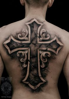 Cross tattoo on back black and grey by Tech Lunatic - Tattoo MAG
