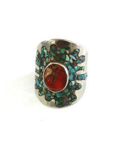 Vintage Ring Coral Stone & Turquoise Medium