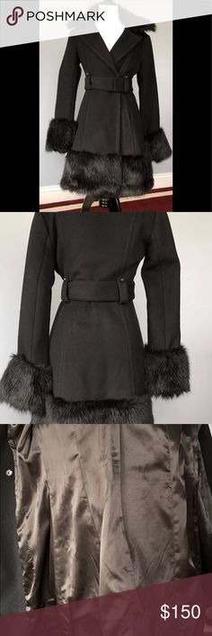 Beautiful Bebe Coat Size Small Available for sale is this gorgeous Bebe Coat in size small, faux fur collar, bottom of sleeves, and at the bottom. This coat was worn 3 times to special events and is in great condition with no tears, rips, or discolorations. Absolutely beautiful! Purchased at the Bebe store in Columbia Circle, NYC. You will love it! bebe Jackets & Coats
