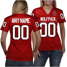 NC State Wolfpack Women's Personalized Fashion Football Jersey - Red