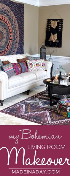 Boho Living Room Makeover: Pop of Color Costplus World Market, Chindi Tasmin area rug, throw pillows, poufs, vase, Ginger cordial, 60's hip pad, bohemian music room, see more on madeinaday.com #ad #worldmarkettribe #FallHomeRefresh via @thelovelymrsp