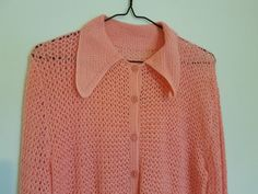 Vintage 1970s handmade crocheted pink cardigan by VintageTwists