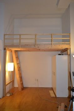 How To Build A Loft - DIY Step By Step With Pictures We then built our top railing using wood and installed in on the loft for safety Build A Loft Bed, Loft Bed Plans, Loft Room, Bedroom Loft, Bedroom Suites, Teen Bedroom, Master Bedroom, Small Apartments, Small Spaces