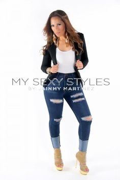 Dark High Waisted Stretch Jeans | Curvy women fashion and Stretch ...