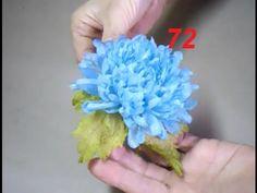 AULA 72:  CRISÂNTEMO AZUL - Flores para cabelos e roupas de festas
