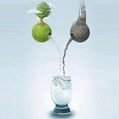 """Cosa daresti da bere al tuo organismo, fanghi tossici o acqua cristallina? Al di qua dello schermo la scelta è scontata, ma ogni albero tagliato, ogni discarica alimentata, ogni industria selvaggia porta nella nostra vita una goccia di veleno in più. Essere responsabili non è """"affare da ambientalista"""", significa semplicemente scegliere la vita."""