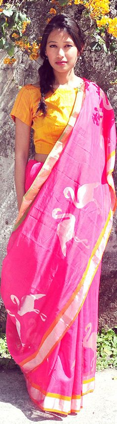 Indian #Sarees for Summer ~ Pink Chanderi cotton woven #Saree w/ flamingo motif by http://www.StudioSmriti.com/ Gupta, NOIDA https://www.facebook.com/pages/Studio-Smriti/202389579102?sk=timeline