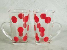 Fire King Patio Polka Dot Glass Mugs - Red Polks Dot Glass Tumblers - 1950s Fire King Glass Mugs--LOVE