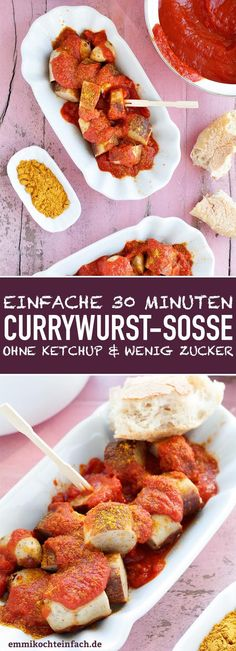 Currywurst sauce - made easy and quick - emmikochteinf .- Currywurst sauce – easy and fast Recetas Whole30, Whole30 Recipes Lunch, Vegetarian Recipes, Dinner Recipes, Barbecue Sauce Recipes, Grilling Recipes, Crockpot Recipes, Hamburger Meat Recipes, Tofu