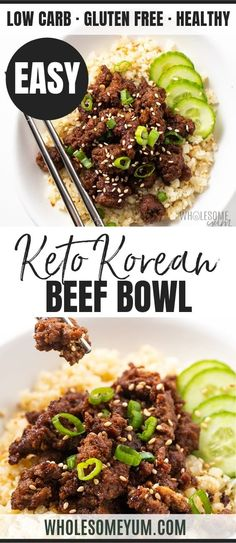 Easy Keto Korean Ground Beef Bowl Recipe - You'll love this keto Korean beef bowl! See how to make an easy Korean ground beef recipe that's healthy, gluten-free, and full of flavor. recipes with ground beef Easy Keto Korean Ground Beef Bowl Recipe Low Carb Dinner Recipes, Healthy Recipes, Keto Dinner, Dinner Healthy, Easy Recipes, Easy Korean Recipes, Healthy Food, Indian Recipes, Healthy Chicken