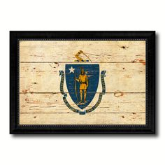 Massachusetts Vintage Flag Canvas Print, Picture Frame Home Décor Wall Art Gift
