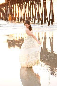 Destination senior portraits. Oceanside pier. Ocean portraits. Beach senior portraits. Golden hour. Backlit. www.audreyperez.com