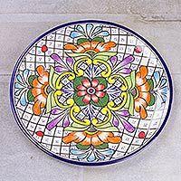 Talavera ceramic platter, 'Guanajuato Flora'