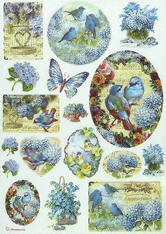 Rice Paper for Decoupage, Scrapbook Sheet, Craft Paper Birds and Blue Butterfly