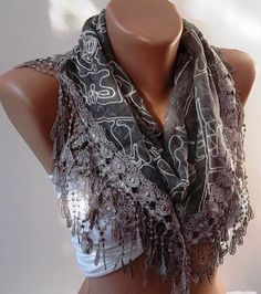 Light Brown Lace and Elegance Shawl / Scarf by SwedishShop on Etsy, $17.90