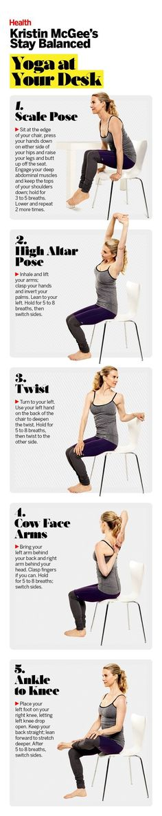 The mere thought of sneaking out for a lunchtime yoga class may be laughable, especially now that we're all asked to do more and more on the job. But that doesn't mean you have to stay stagnant for hours. There are effective moves you can do right at your desk, ones that will help you get a mental breather and make sure your neck, back, arms, hips and wrists remain in good working order. | Health.com