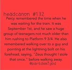 Except.....Percy is in NYC and Harry is in the UK......other that that it is a perfect head cannon